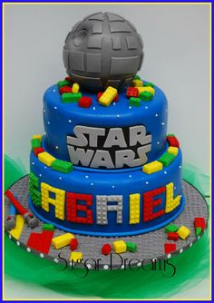 - * A Star Wars lego cake. All the decorations are made with fondant !!!