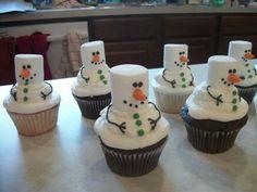 Sooo cute -- Snowman cupcakes