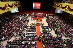 Suasana di Dewan Sultan Iskandar ketika kunjungan Tun Mahathir ke UTM bagi program Diskusi Kepimpinan Perdana di UTM Johor Bharu.