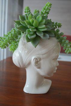 Modern Ceramic Head Planter by Membil on Etsy