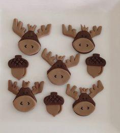 Moose and acorn fondant cupcake topper by MyArtisanBakery on Etsy, $24.00