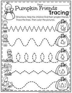 October Preschool Worksheets - Planning Playtime Preschool Pumpkin Worksheets - Fun Tracing Worksheets for October. Fall Preschool Activities, Preschool Curriculum, Preschool Lessons, Preschool Crafts, Homeschooling, October Preschool Themes, Preschool Activity Sheets, Teaching Activities, Motor Activities