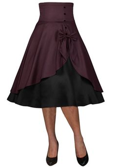ea1494aaba55d This adorable skirt has a high banded waist that leads to an asymmetric  overskirt. Contrasting