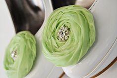 Lime Chiffon Roses Shoe Clips by BizimFlowers on Etsy