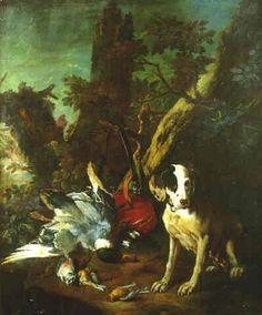 Nature morte aux trophées de chasse et chien près d'un tronc d'arbre by Franz Werner von Tamm Franz, Painting, Art, Dog, Hamburg, Art Background, Painting Art, Kunst, Paintings