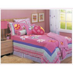 @Overstock - Appliqued ladybugs and butterflies dance across this Fiona quilt set.  This bedding ensemble showcases 100-percent cotton construction in soft pastel colors.  http://www.overstock.com/Bedding-Bath/Fiona-Juvenile-Twin-size-Quilt-Set/5700724/product.html?CID=214117 $69.99