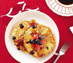 Make These Skinny Pancakes for Your Next Brunch: Peanut Butter Pancakes with Berry Topping. Think of this as a breakfast PB&J. Peanut butter batter makes for an extra creamy flapjack and berries on top give a hit of sweetness--plus a dose of antioxidants and energy. #SelfMagazine