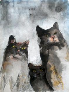 GANG OF CATS - Peinture,  21x28,5 cm ©2015 par evafialka -                                                                                                            Art abstrait, Art figuratif, Illustration, Peinture contemporaine, Papier, Animaux, Chats, cat, chat, aquarelle, ink abstract