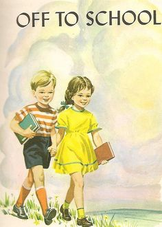 Vintage Dick and Jane book Old Children's Books, Vintage Children's Books, Camille Redouble, Vintage Pictures, Vintage Images, Adorable Petite Fille, Old School House, Ecole Art, Vintage School