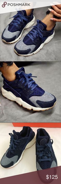 27b316d43831 New Nike Air Huarache Run Premium Shoes Denim blue NWT