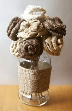 DIY Burlap Roses.  Something to try with the leftover burlap from the curtains I made.