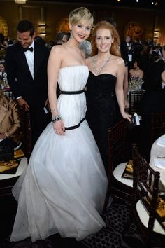 Jennifer Lawrence and Jessica Chastain doubled up for a photo at the Golden Globes.