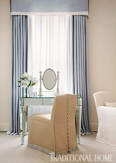 A mirrored vanity table and chair embellished with pearl trim provide a spot to apply makeup. Traditional Home Magazine, Traditional Decor, Traditional House, Unique Curtains, Classic Curtains, Blue Curtains, H Design, House Design, Beautiful Bedrooms