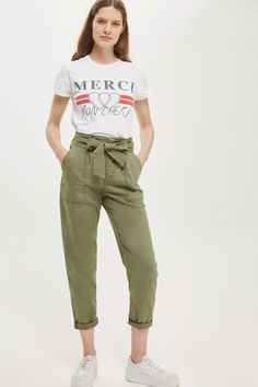 Paperbag Utility Trousers - Trousers & Leggings - Clothing - Topshop