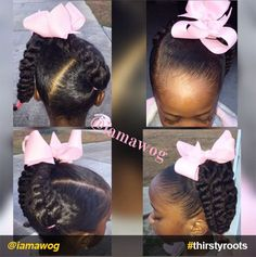 20 Cute Natural Hairstyles for Little Girls - - From pony puffs to decked out cornrow designs to braided styles, natural hairstyles for little girls can be the cutest added bonus to their precious little faces. Lil Girl Hairstyles, Natural Hairstyles For Kids, My Hairstyle, Braided Hairstyles, Toddler Hairstyles, Princess Hairstyles, Funny Hairstyles, Children Hairstyles, Teenage Hairstyles