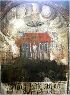 """Possible UFO discovered in an old wall painting in Romania - The wall painting depicts a disc-shaped object over a building that is emitting smoke. It also has a caption in German that reads """"Israel, hoffe auf den HERRN,"""" which translated means """"Israel, put your hope in the Lord."""" EURA explains that this is a quote from Psalms song of ascents, c.130 v.7. The painting appears to be very old, but it is hard to tell how old."""