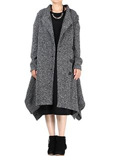 Mordenmiss Women Irregular Hem Long Coat Black One Size ** Be sure to check out this awesome product.