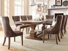SEINE-9pcs Traditional Brown Rectangular Dining Room Table Chairs Set Furniture