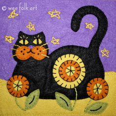 Black Cat Applique Block | Wee Folk Art