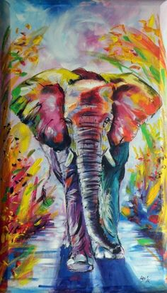 Colorful elephant (70x40 cm) on 3D canvas, Acrylic painting by Kovács Anna Brigitta on Artfinder♥✿♥