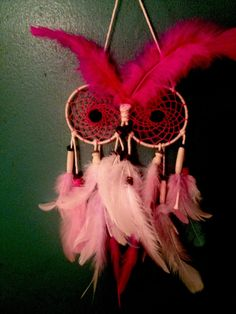 Mrs. Hooty... Pink and white owl dream catcher by IBHippie on Etsy