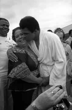 Muhammad Ali & his mother, 1974.