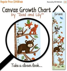 Thank you for visiting Toad and Lily™!  Our canvas growth charts make wonderful keepsakes, and are a great way to record your child's growth and milestones. This growth chart measures 10 x 44. Measurement increments are in inches and start at 20 and go up to 60. Measurements can be changed to centimeters upon request (we can do either inches or centimeters, not both on the same chart.)  Each growth chart is professionally printed on museum quality matte bright white canvas. It is…