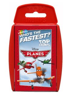 Step aside Lightning McQueen and the other favourites from Disney Cars – it's time for Planes to take off! Planes Top Trumps features Dusty Crophopper, Skipper, Chug and many more of the fantastic new characters from the skies. Who's the most adventurous, or the biggest daredevil?  http://shop.winningmoves.co.uk/products/great-new-games/5036905020787-top-trumps-disney-planes.html