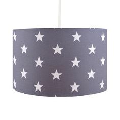 Handmade Grey Stars Lampshade - children's lighting