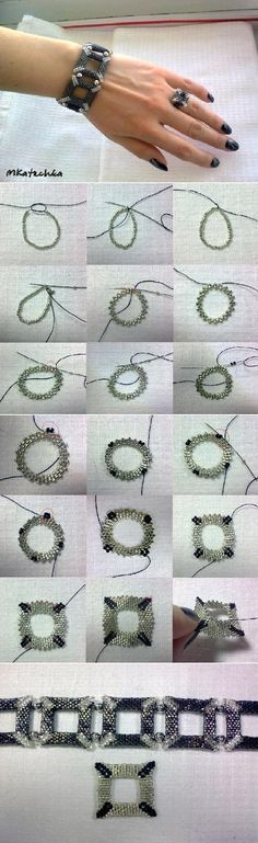 DIY Square Shaped Beaded Bracelet | iCreativeIdeas.com Like Us on Facebook == https://www.facebook.com/icreativeideas
