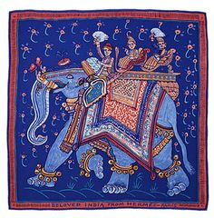Beloved India.------- From hermes.com: Like an enormous illustration, the scarf BELOVED INDIA pays tribute to the artisans who paint the earthen walls of Indian homes. Giant cartoons, picture-book illustrations and childlike frescoes… This figurative, ornamental and very expressive painting style is characteristic of Indian folk art. Still today, the tradition of painting elephants with decorative patterns for important celebrations lives on; the animals are also adorned in rugs, embroidered…