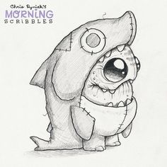 Cute art by Chris Ryniak  Shark suit! #morningscribbles