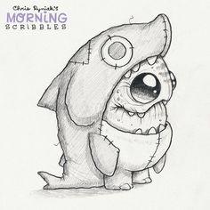Shark suit! #morningscribbles
