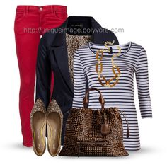 Red, Navy & Leopard, created by uniqueimage on Polyvore