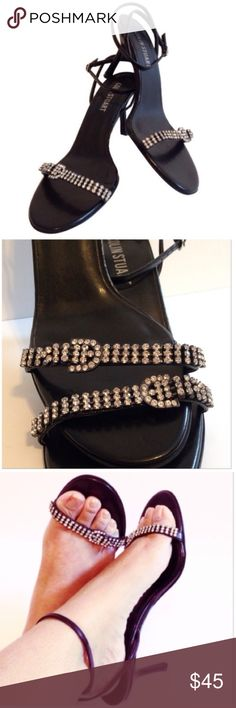 Colin Stuart Jeweled Rhinestone Buckle Heels NWOT Colin Stuart NWOT Jeweled Faux Rhinestone Buckle Stappy Black Stiletto High Heels! Size 8.5 and true to size. Colin Stuart Shoes Heels