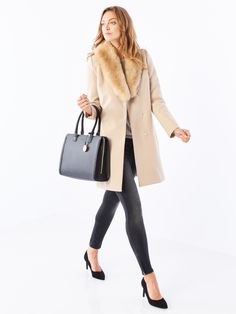 Kabát s kožušinovým golierom, Bestsellers, béžová, MOHITO
