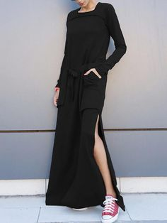 Navy-blue\u0026Army-green Simple Loose Split-side Long Dress BLACK S