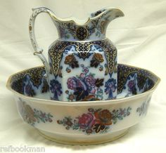 Antique Cauldon England Flow Blue Polychrome Pitcher Basin Bold Imari Colors   eBay