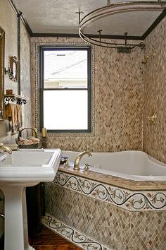 The Bathroom Is Only 5 1/2 Feet By 9 1/2 Feet. I Was Able To Fit A Corner  Spa Tub. I Designed And Fabricated The Custom Shower Curtain Rod.