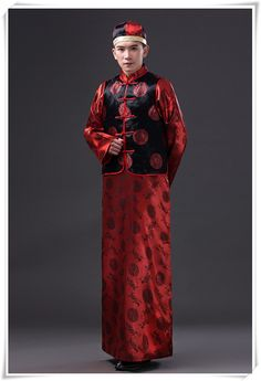Men Chinese Folk Costume Robe + Vest Male Tang Suit Chinese Traditional  Costume Red Groom Clothes 8e1b57976