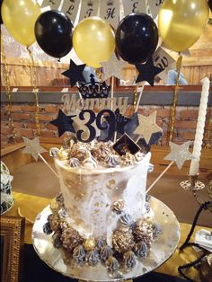 Drip cake black and gold theme from batam, indonesia
