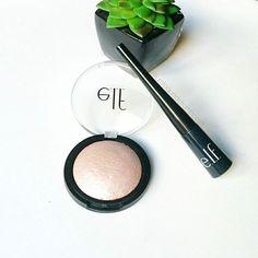 e.l.f. Cosmetics products I love: e.l.f. Baked Highlighter Moonlight Pearls and Expert Liquid Liner Charcoal | Produtos da e.l.f. Cosmetics que eu amo: Iluminador Baked e delineador líquido