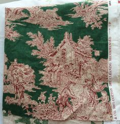 New Waverly WELLINGTON Toile Green Red French Country Farm Cotton Fabric 3+ yds #Waverly