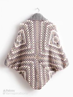 Crochet Cardigan - Free crochet pattern in XS - 5XL at Yarnspirations. Made from 4 big granny squares.