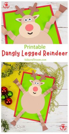 Are you looking for a fun and easy Christmas craft for kids? This Dangly Legged Reindeer Craft is so jolly and characterful! Rudolf The Red Nosed Reindeer's zig-zag folded, wibbly-wobbly legs are sure to make everyone smile! (Printable template colour and B/W) #kidscraftroom #kidscrafts #christmascrafts #reindeercrafts #rudolfcrafts #rudolftherednosedreindeer Christmas Crafts For Kids To Make, Christmas Card Crafts, Christmas Activities For Kids, Diy Gifts For Kids, Craft Activities, Preschool Crafts, Christmas Fun, Reindeer Craft, Toddler Crafts