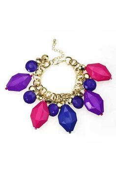 Faceted Colorful Crystals Pendant Bracelet