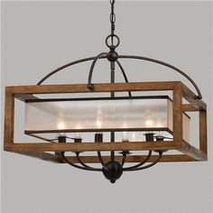 Cal Lighting Mission wood and metal Square Pendant Chandelier. Cal Lighting makes several matching items in this series. Cal Lighting Mission wood and Metal 6 light Pendant/Chandelier