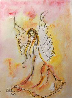 Angel painting, acrylic on paper, Guardian Angel, Angel Art  Original painting of Angel  5 x 7 (13 x 18 cm )