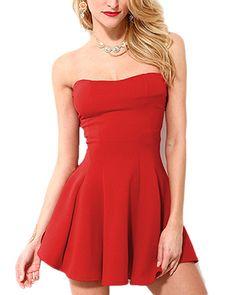 Red Strapless Frilled Mini Skater Dress DR0130243
