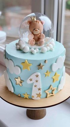 First Birthday Cake Pictures, One Year Birthday Cake, 1st Year Cake, Baby First Birthday Cake, Blue Birthday Cakes, Beautiful Birthday Cakes, Cake Designs For Kids, Cake Decorating Piping, Baby Girl Cakes
